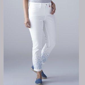 NYDJ Sugar Nina Rolled Cuff Embroidered Pants